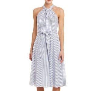 JULIA JORDAN Blue White Striped Fit Flare Dress 2
